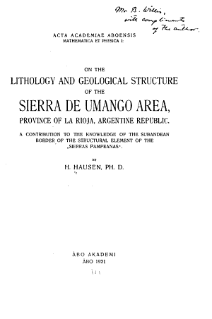 On the Lithology and Geological Structure of the Sierra de Umango Area, Province of La Rioja, Argentine Republic