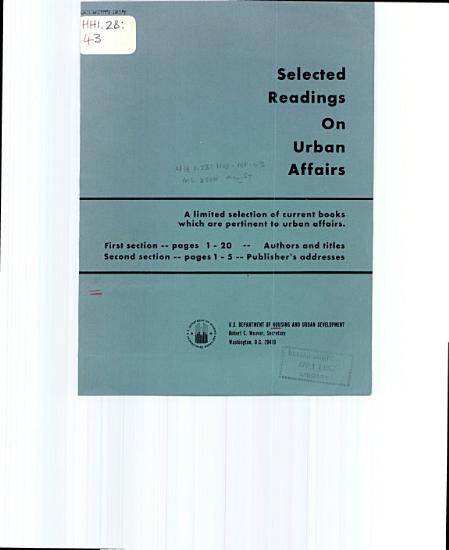 Selected Readings on Urban Affairs PDF