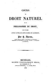 Cours de droit naturel ou de philosophie du droit: Volume2