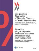 Geographical Distribution of Financial Flows to Developing Countries 2013 Disbursements  Commitments  Country Indicators PDF