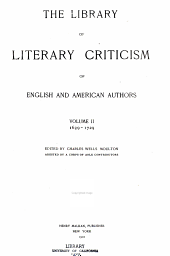 The Library of Literary Criticism of English and American Authors: Volume 2