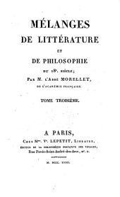 Melanges de litterature et de philosophie du 18. siecle. - Paris, Ve. Lepetit 1818