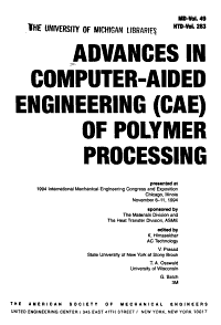 Advances in Computer aided Engineering  CAE  of Polymer Processing PDF