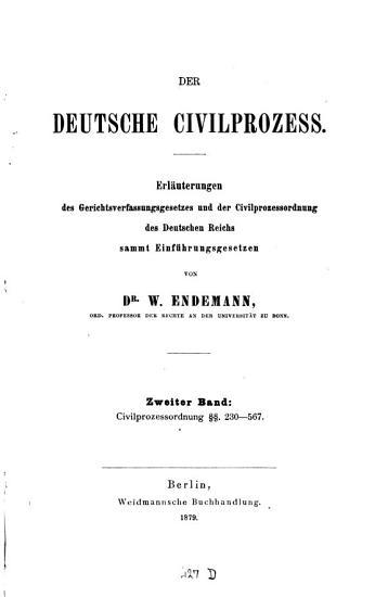 Der deutsche Civilprozess PDF