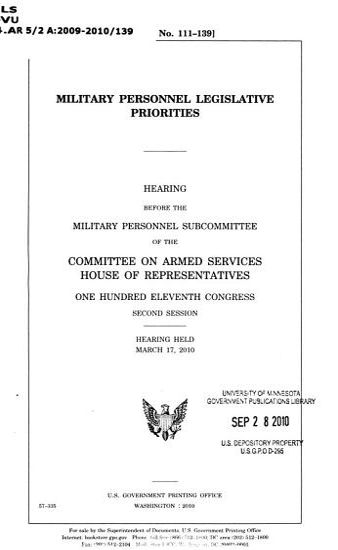 Military Personnel Legislative Priorities PDF
