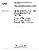 Next Generation Air Transportation System  Status of Key Issues Associated with the Transition to NextGen PDF
