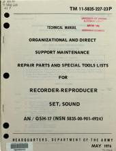 Organizational and Direct Support Maintenance Repair Parts and Special Tools Lists for Recorder-reproducer Set, Sound AN/GSH-17 (NSN 5835-00-901-4924).