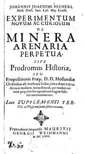 Experimentum novum ac curiosum de minera arenaria perpetua