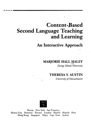 Content based Second Language Teaching and Learning PDF