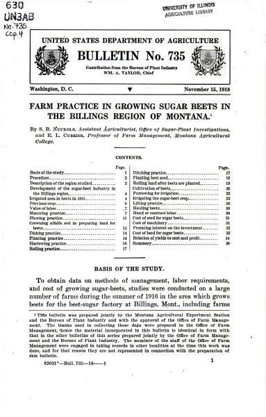 Download Farm Practice in Growing Sugar Beets in the Billings Region of Montana Book