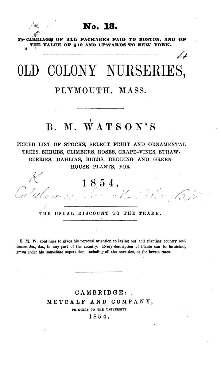 B. M. Watson's priced List of Stocks, select Fruit and Ornamental Trees, ... for 1854