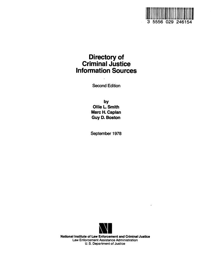 Directory of Criminal Justice Information Sources