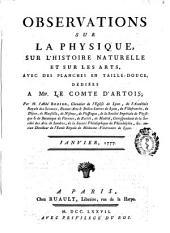 Observations et Memoires sur la Physique, sur L'Histoire Naturelle et sur les Arts et Métiers: avec des planches en taille - douce, ..., Volume9