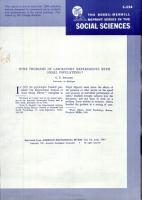 Some Problems of Laboratory Experiments With Small Populations PDF