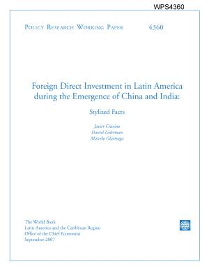 foreign direct investment inlatin america during emergence of china and india  stylized facts