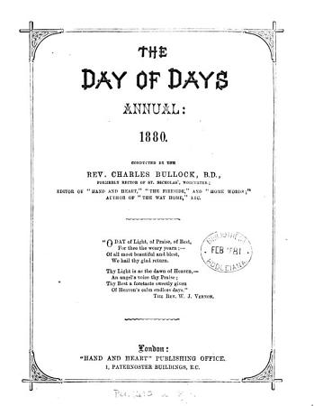 The Day of days  conducted by C  Bullock PDF