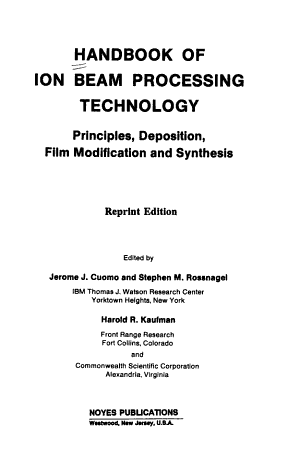 Handbook of Ion Beam Processing Technology PDF