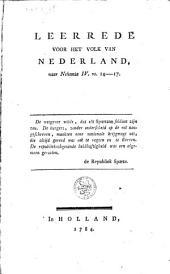 Leerrede voor het volk van Nederland, naar Nehemia IV, vs. 14-17