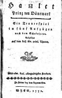 Hamlet  Prinz von D  nemark  Trauerspiel in 5 Aufz  nach dem Shakespear PDF