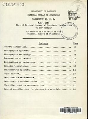 List of National Bureau of Standards Publications on Photography by Members of the Staff of the National Bureau of Standards