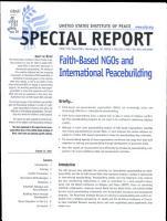 Faith based NGOs and International Peacebuilding PDF