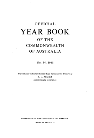 Official Year Book of the Commonwealth of Australia No  54  1968 PDF
