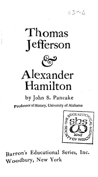 Thomas Jefferson   Alexander Hamilton