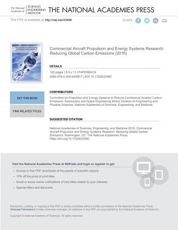Commercial Aircraft Propulsion and Energy Systems Research PDF