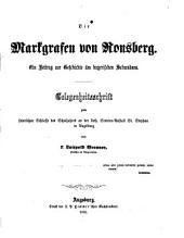 Die Markgrafen von Ronsberg: ein Beitrag zur Geschichte des bayerischen Schwabens
