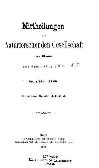 Mitteilungen der Naturforschenden Gesellschaft in Bern PDF