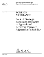 Foreign assistance lack of strategic focus and obstacles to agricultural recovery threaten Afghanistan s stability   report to congressional requesters PDF