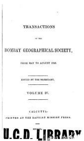 The Transactions of the Bombay Geographical Society: Volume 4