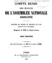 Compte rendu des séances: ... Exposés de motifs et projets de lois présentés par le gouvernement, Volume3