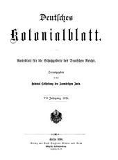 Deutsches Kolonialblatt: Amtsblatt des Reichskolonialamt, Band 7