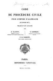 Code de procédure civile pour l'empire d'Allemagne (30 janvier 1877)