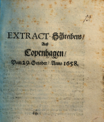 EXTRACT Schreibens  Au   Copenhagen  Vom 29  October  Anno 1658 PDF