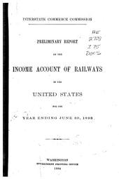 Preliminary Report on the Income Account of Railways in the United States