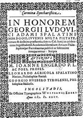 Carmina Syncharistica, in honorem Georgii Ludovici Adami ...