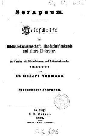Serapeum Zeitschrift fur Bibliothekwissenschaft  Handschriftenkunde und altere Litteratur PDF