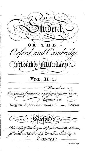 The Student  Or  The Oxford and Cambridge Monthly Miscellany PDF
