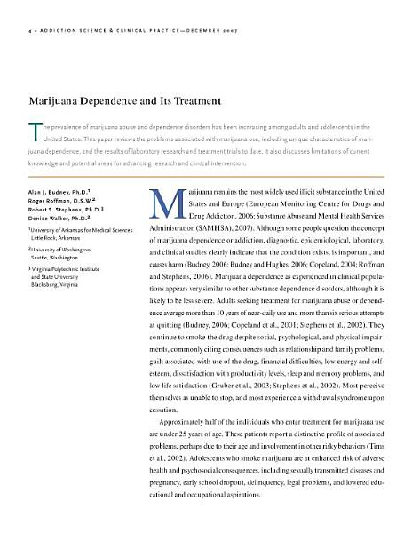 Marijuana Dependence And Its Treatment A Reprint From Addiction Science And Clinical Practice