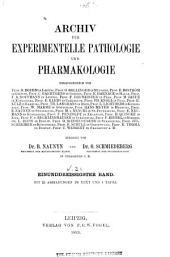 Archiv für experimentelle Pathologie und Pharmakologie: Band 31