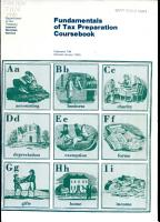 Fundamentals of Tax Preparation Coursebook PDF