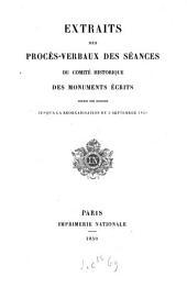 Bulletin du Comité historique des monuments écrits de l'histoire de France
