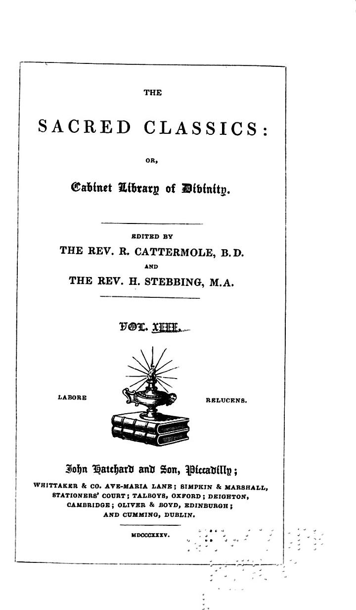 Sacred Classics, Or, Cabinet Library of Divinity: Primitive Christianity
