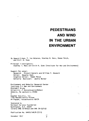 Pedestrians and Wind in the Urban Environment PDF