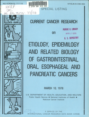 Current cancer research on etiology, epidemilogy [sic] and related biology of gastrointestinal, oral, esophageal and pancreatic cancers