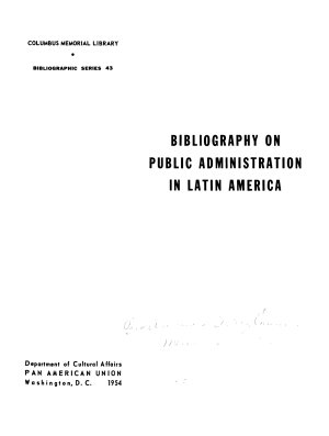 Bibliography on Public Administration in Latin America