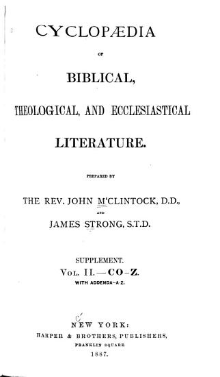 Cyclopedia of Biblical  Theological  and Ecclesiastical Literature PDF