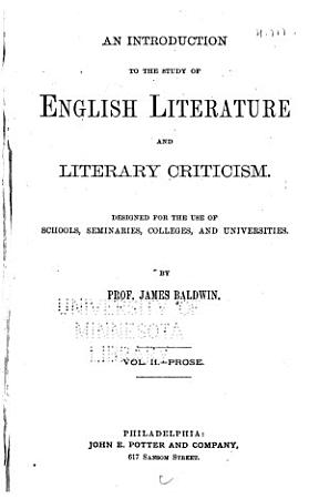 An Introduction to the Study of English Literature and Literary Criticism PDF